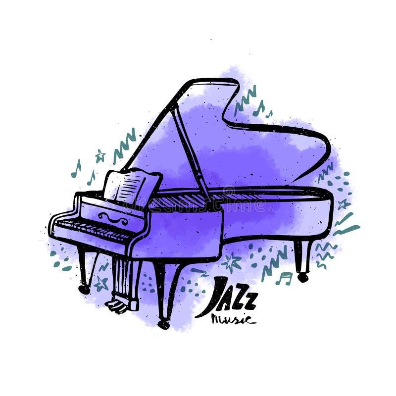 Piano tirado mão Conceito da m?sica de jazz Ilustração do vetor do estilo da tinta com mancha violeta da aquarela no fundo branco ilustração stock