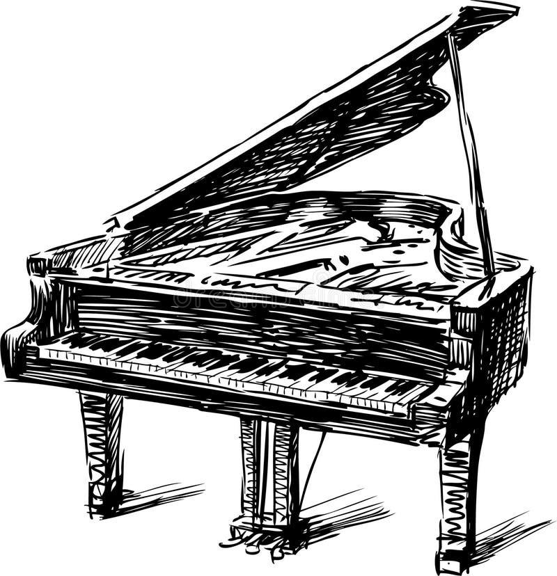 Piano. Vector image of a hand drawn piano vector illustration