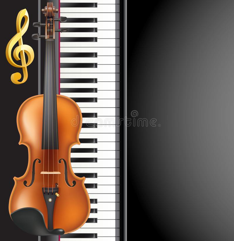 Piano and violin realistic musical instruments, golden g clef an vector illustration