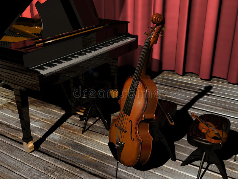 Piano, violoncelo y violín libre illustration