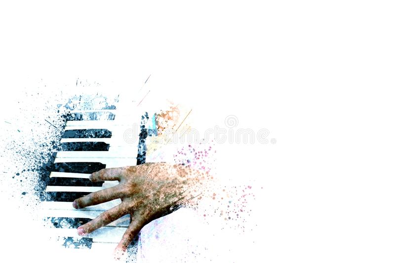 Piano on Watercolor painting background and Digital illustration. Abstract piano on Watercolor painting background and Digital illustration brush to art stock images