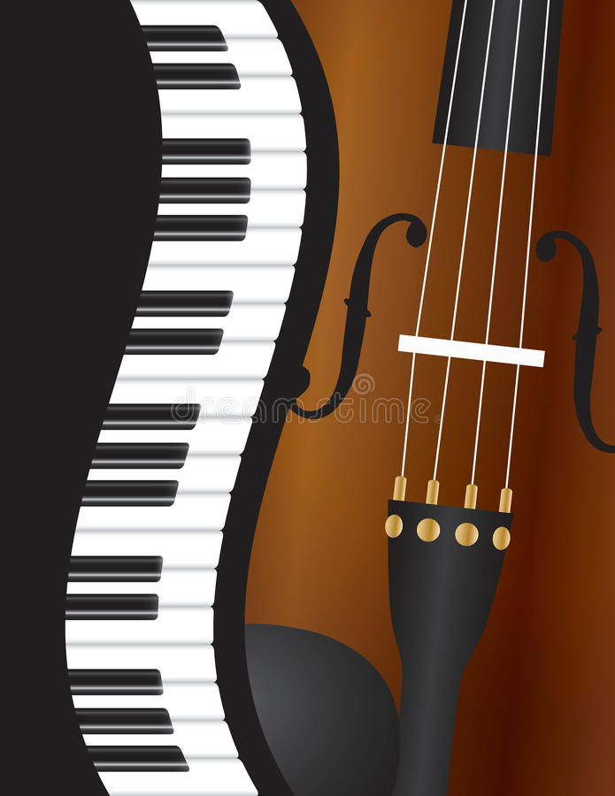 Piano Wavy Border with Violin Illustration stock illustration