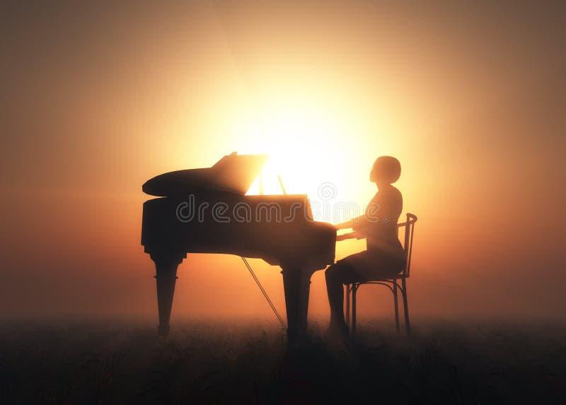 The piano. stock illustration