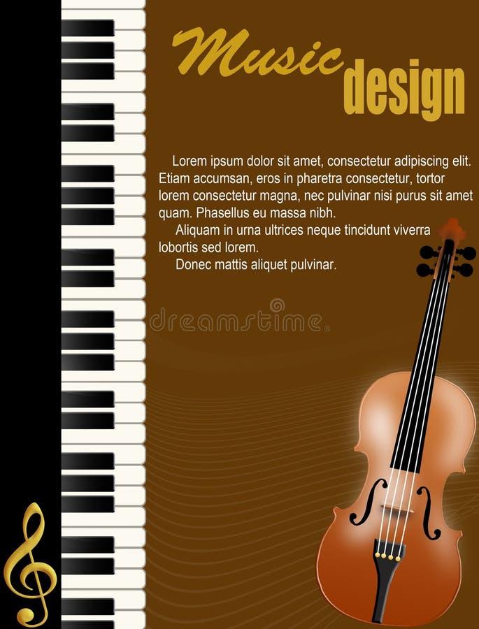 pianoaffischfiol royaltyfri illustrationer