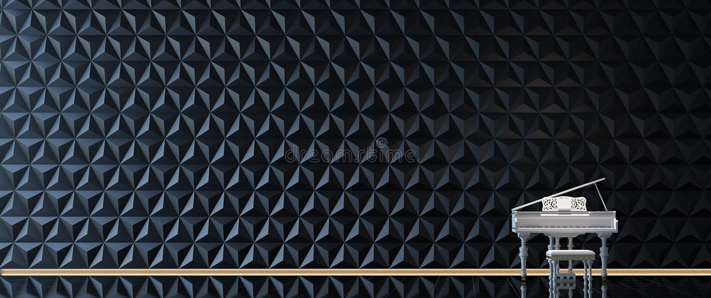 Pianoforte a coda bianco nella stanza nera illustrazione vettoriale