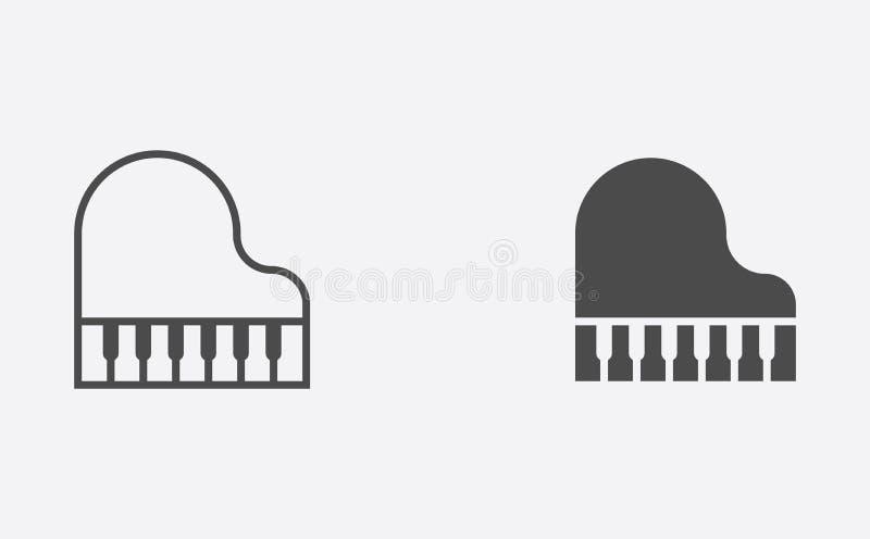 Pianooverzicht en het gevulde vectorsymbool van het pictogramteken royalty-vrije illustratie