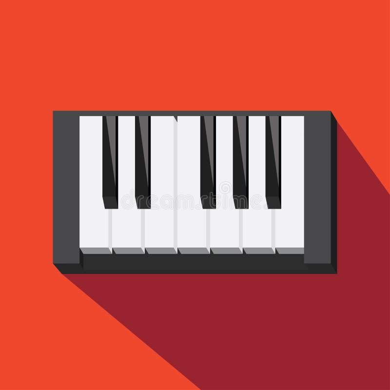 Pianopictogram Geluid en muziekpictogram Vlak Ontwerp Vector illustratie royalty-vrije illustratie