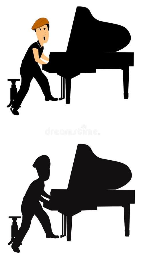 Pianospelare från retro era vektor illustrationer