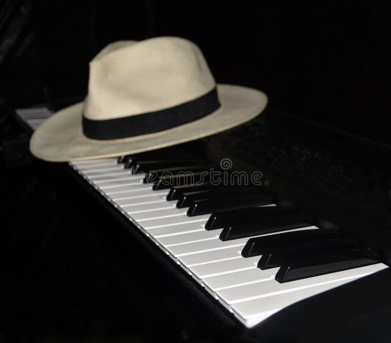 Pianospelaren tar ett avbrott - den Panama hatten royaltyfria bilder