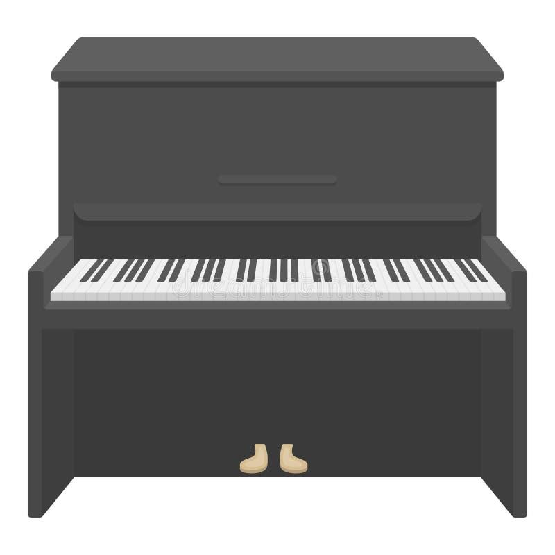 Pianosymbol i tecknad filmstil som isoleras på vit bakgrund Illustration för vektor för musikinstrumentsymbolmateriel royaltyfri illustrationer