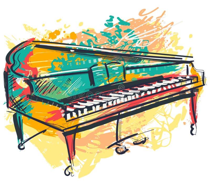 Pianot i vattenfärg skissar stil För grungestil för färgrik hand utdragen konst för banret, kort, t-skjorta, tatuering, tryck, af vektor illustrationer