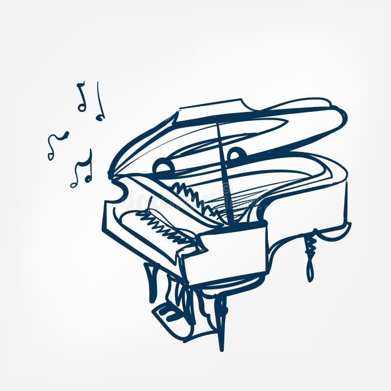 Pianot skissar isolerade designbeståndsdelen för vektorn illustrationen vektor illustrationer