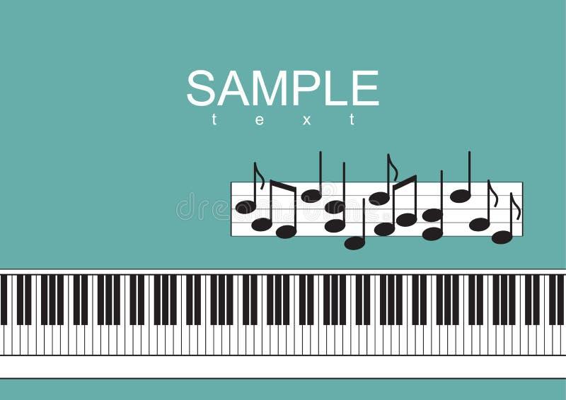 Pianotangentbord och anmärkningar på grön bakgrundsvektorillustration royaltyfri illustrationer