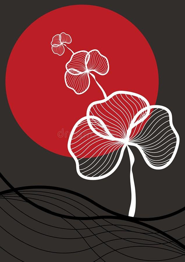 Pianta bianca orientale, sole rosso illustrazione di stock