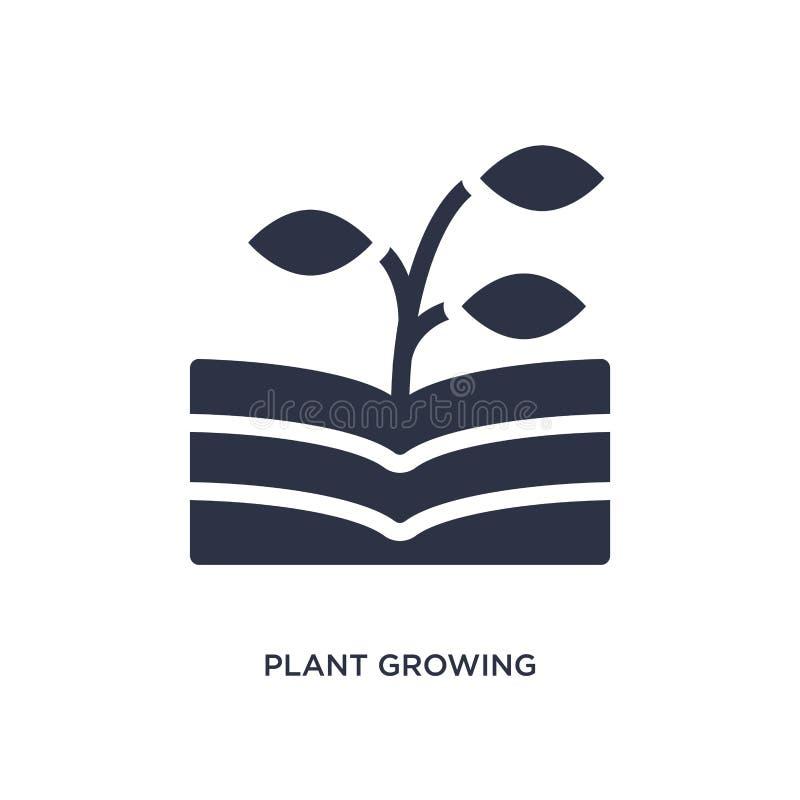 pianta che cresce sull'icona del libro su fondo bianco Illustrazione semplice dell'elemento dal concetto della natura illustrazione di stock