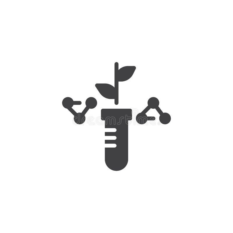 Pianta con le foglie e l'icona chimica di vettore della provetta royalty illustrazione gratis
