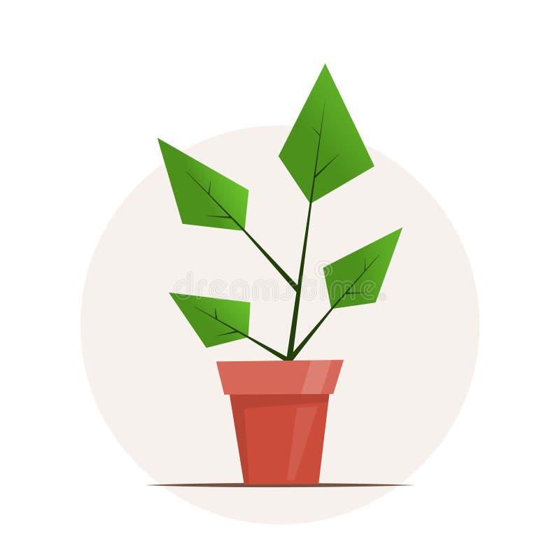 Pianta da appartamento in un vaso Illustrazione grafica semplice sveglia di vettore nello stile piano per progettazione del negoz royalty illustrazione gratis