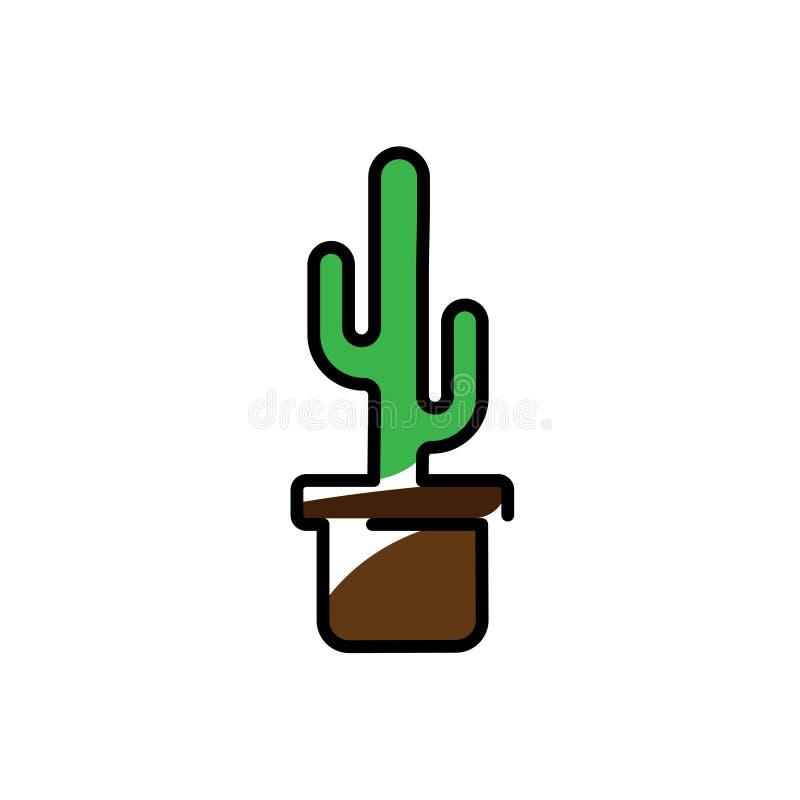 Pianta del cactus in un'icona del vaso Linea illustrazione di vettore di arte Progettazione piana di stile illustrazione vettoriale