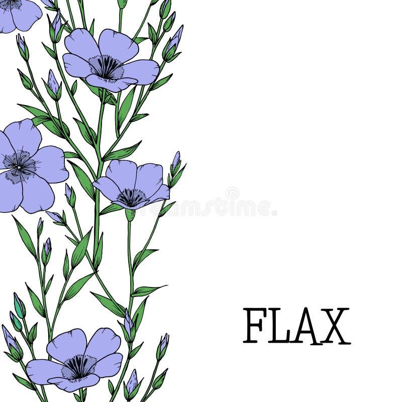 Pianta del lino con il fiore, il germoglio e la foglia illustrazione di stock