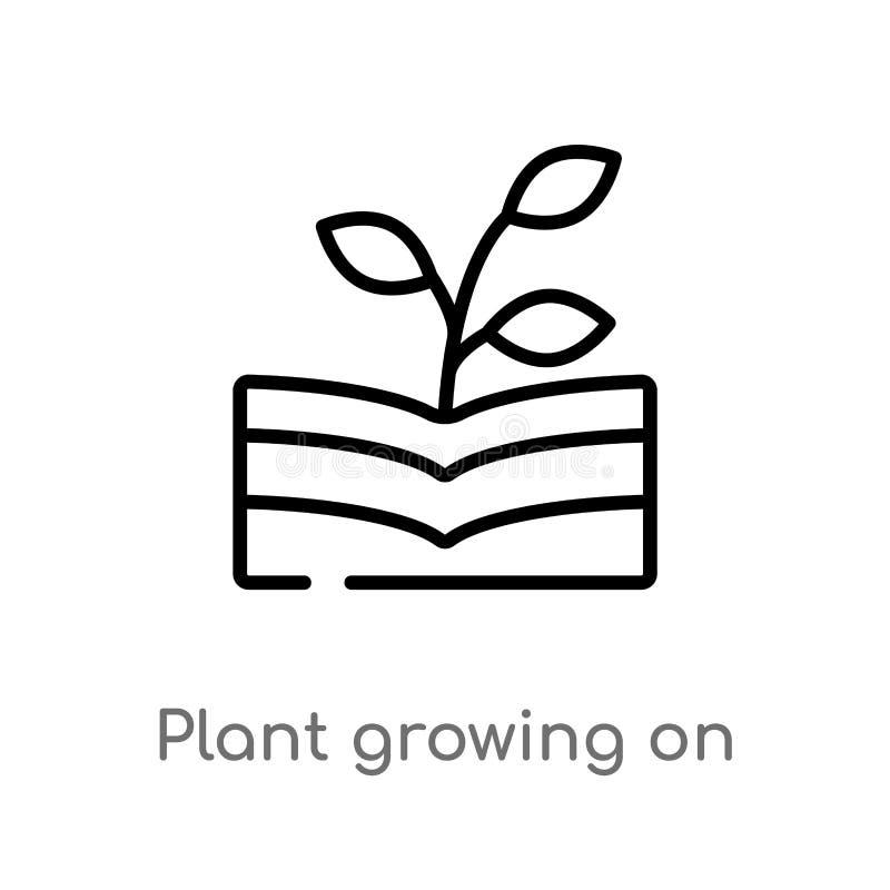 pianta del profilo che cresce sull'icona di vettore del libro linea semplice nera isolata illustrazione dell'elemento dal concett illustrazione vettoriale