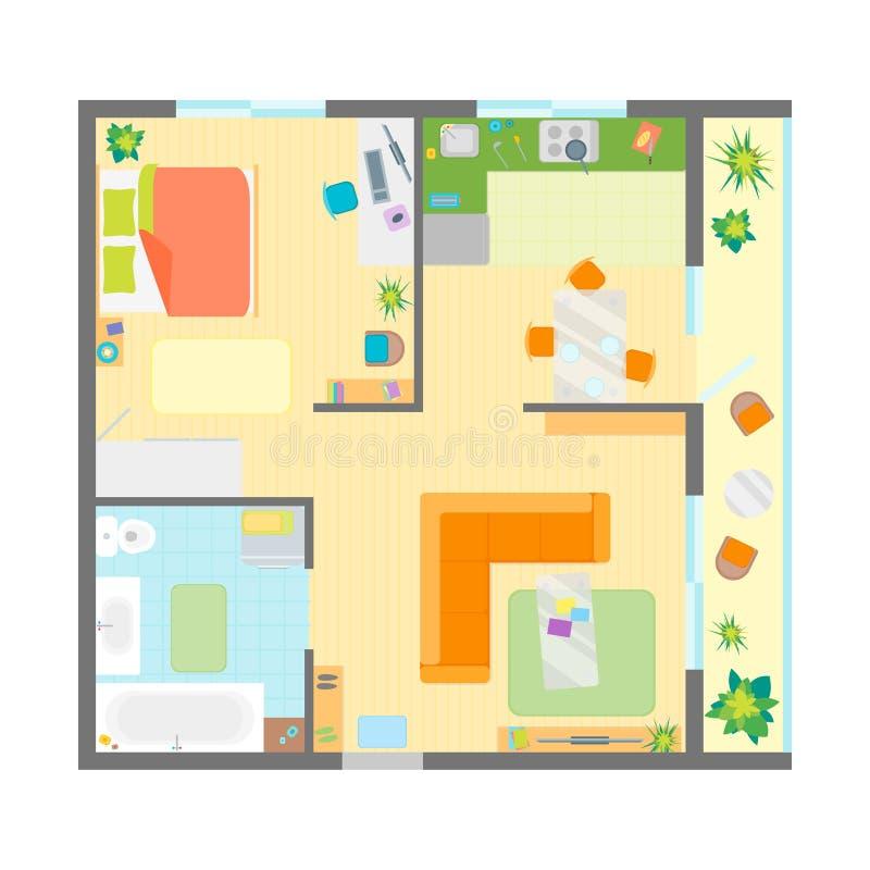 Pianta dell'appartamento con la vista superiore della mobilia Vettore royalty illustrazione gratis
