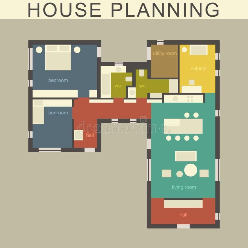 Pianta della casa architettonica illustrazione vettoriale for Zonificacion arquitectonica