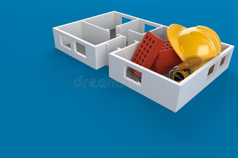 Pianta della casa con i mattoni e l'elmetto protettivo illustrazione di stock