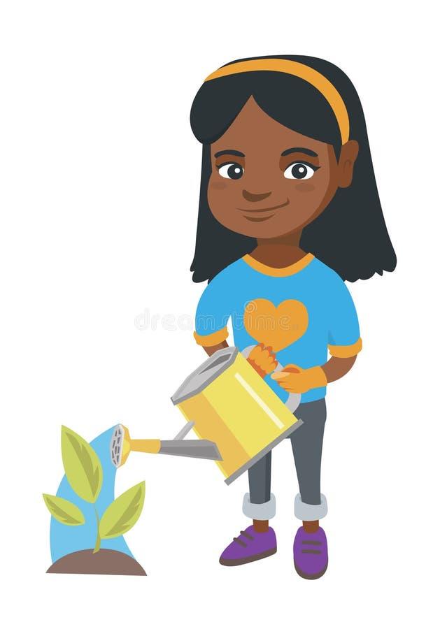 Pianta di innaffiatura africana della ragazza con un annaffiatoio illustrazione di stock