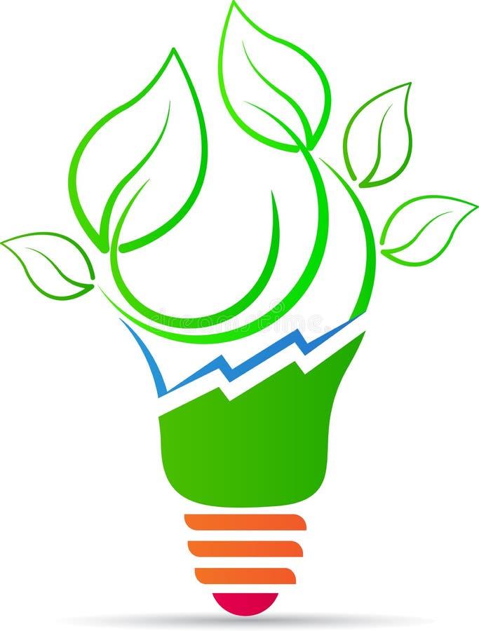 Pianta di lampadina verde di energia illustrazione di stock