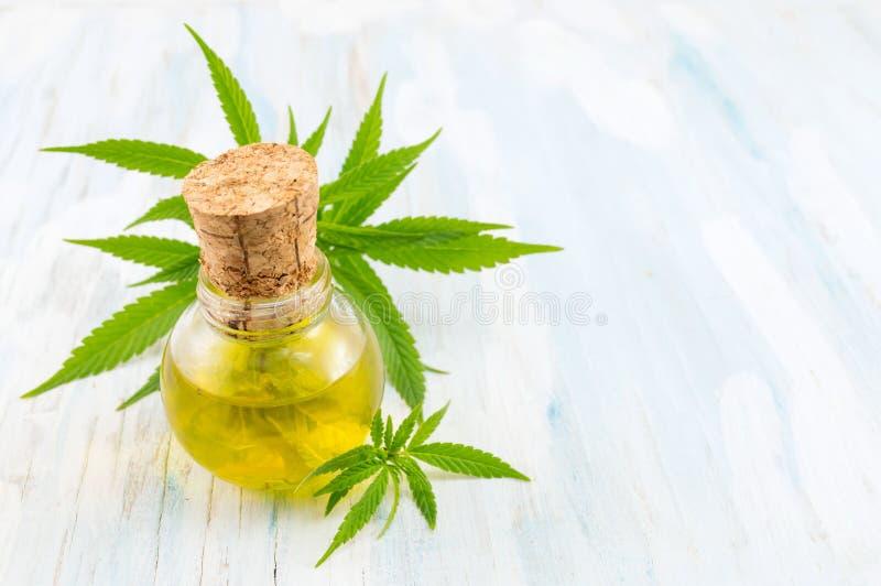 Pianta di marijuana ed olio della cannabis fotografia stock libera da diritti