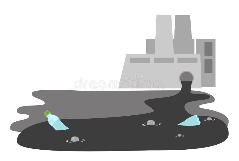 Pianta di raffineria con il fumetto di vettore del tubo dell'acqua di scarico illustrazione di stock
