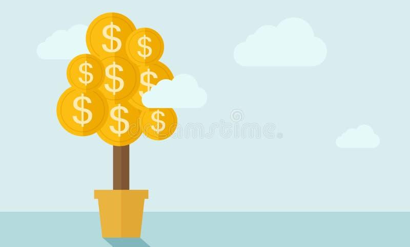 Pianta di soldi su un vaso illustrazione di stock