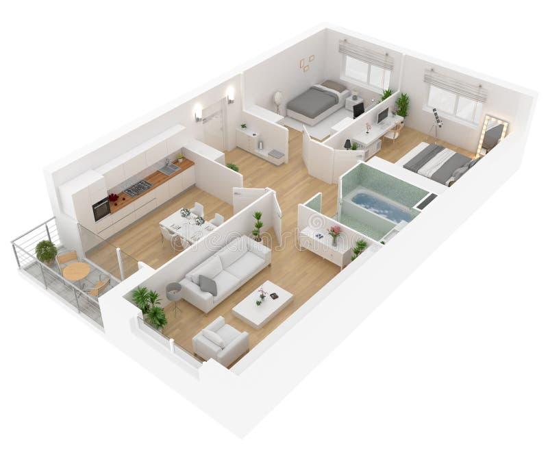 Pianta di una vista superiore della casa Apra la disposizione vivente dell'appartamento di concetto illustrazione di stock