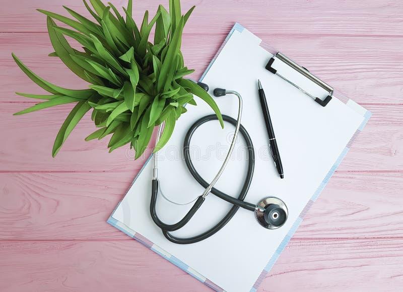 Pianta di vetro della carta della penna dello stetoscopio fotografia stock
