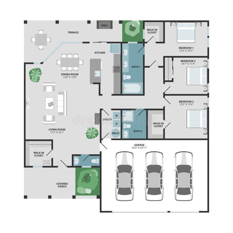 Pianta di vettore di una casa illustrazione vettoriale for Designer di case virtuali gratis