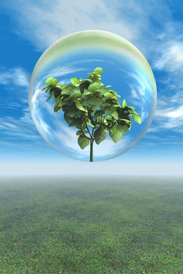 Pianta frondosa nella bolla di vetro royalty illustrazione gratis