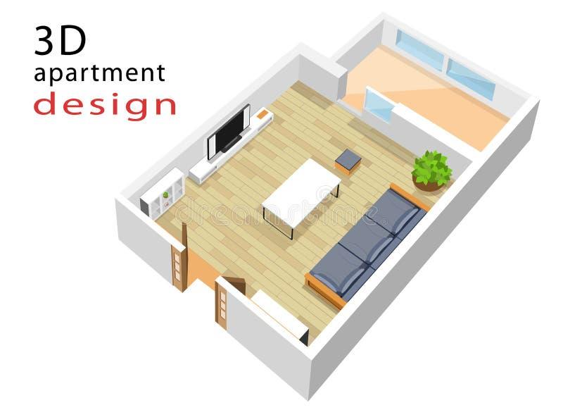 pianta isometrica 3d per l'appartamento Illustrazione di vettore dell'interno isometrico moderno del salone illustrazione vettoriale