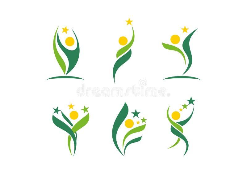 Pianta, la gente, benessere, celebrazione, naturale, stella, logo, salute, sole, foglia, botanica, ecologia, vettore di progettaz illustrazione vettoriale