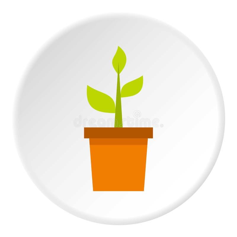 Pianta nel cerchio dell'icona del vaso di argilla illustrazione vettoriale