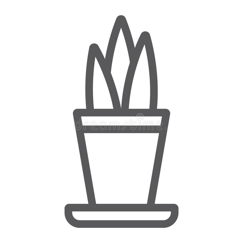 Pianta nella linea icona del vaso, floreale e casa, segno del vaso da fiori, grafica vettoriale, un modello lineare su un fondo b royalty illustrazione gratis