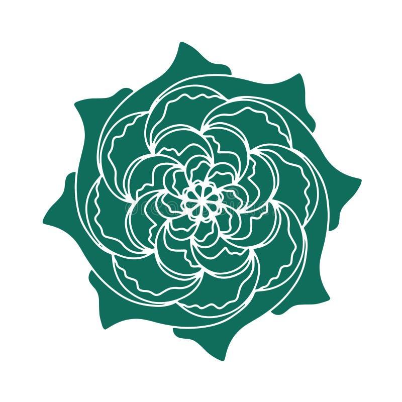 Pianta organica del fiore dell'icona rosa verde scuro di vettore Manifesto o cartolina disegnato a mano Carta floreale di tipogra royalty illustrazione gratis