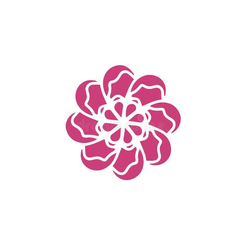 Pianta organica del fiore di vettore di logo rosa scuro di concetto Elemento di progettazione floreale di estate o della retro mo illustrazione di stock
