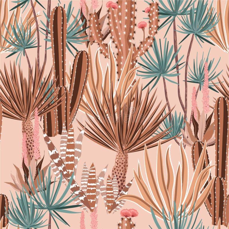 Pianta pastello dolce del cactus e modello senza cuciture dei fiori Fondo disegnato a mano botanico di umore di estate tropicale  royalty illustrazione gratis