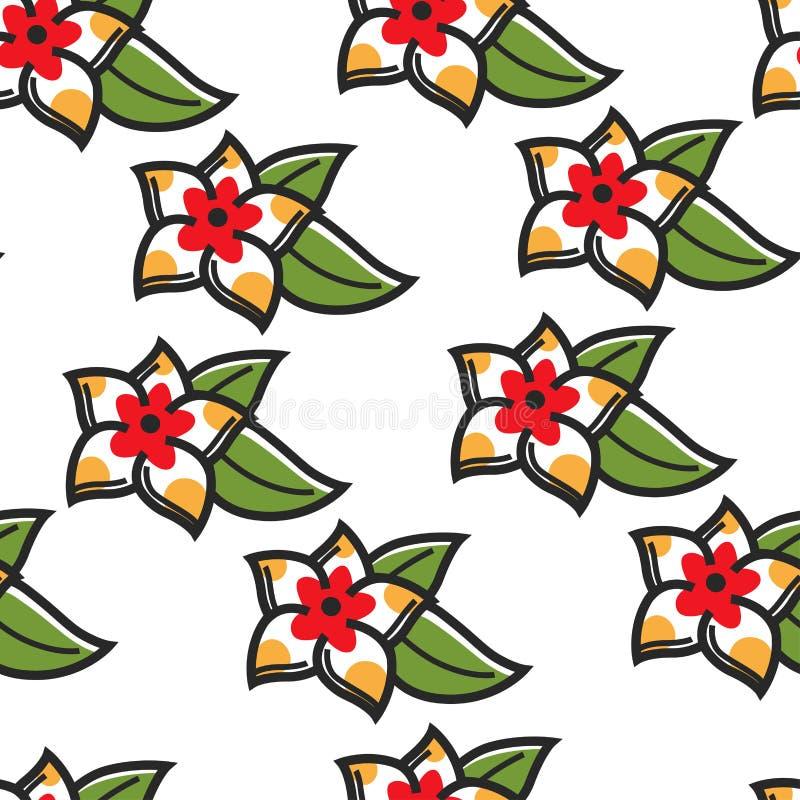 Pianta senza cuciture del modello del fiore hawaiano di simbolo di plumeria royalty illustrazione gratis