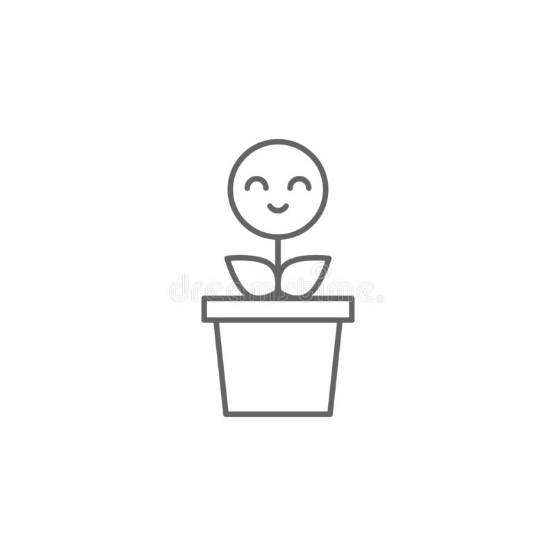 Pianta, sorriso, icona del fiore Elemento dell'icona di amicizia Linea sottile icona per progettazione del sito Web e sviluppo, s royalty illustrazione gratis