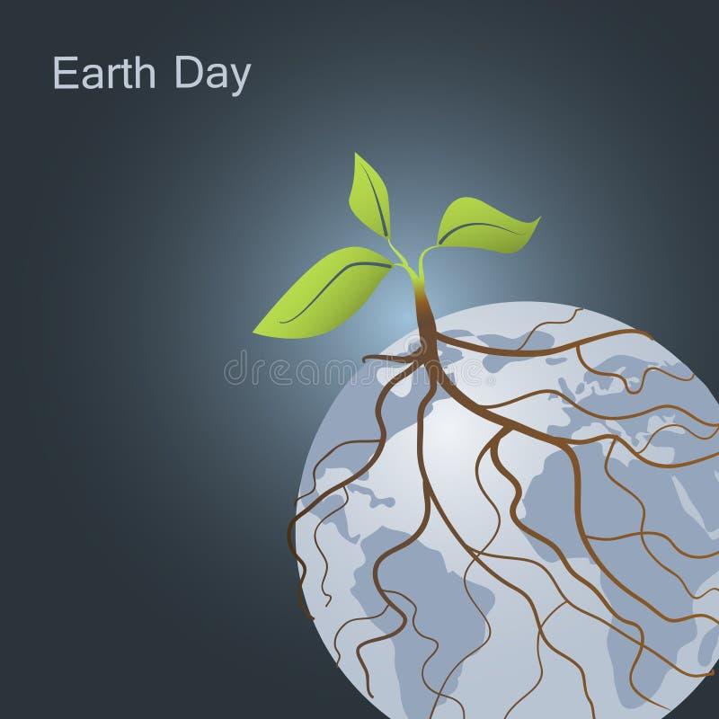 Pianta su terra e le sue radici intorno al pianeta La giornata per la Terra e va concetto verde illustrazione di stock