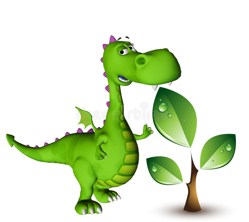 Pianta verde del drago del bambino di Dino illustrazione di stock