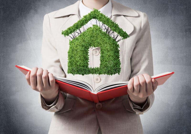Pianta verde di rappresentazione dell'agente immobiliare illustrazione di stock