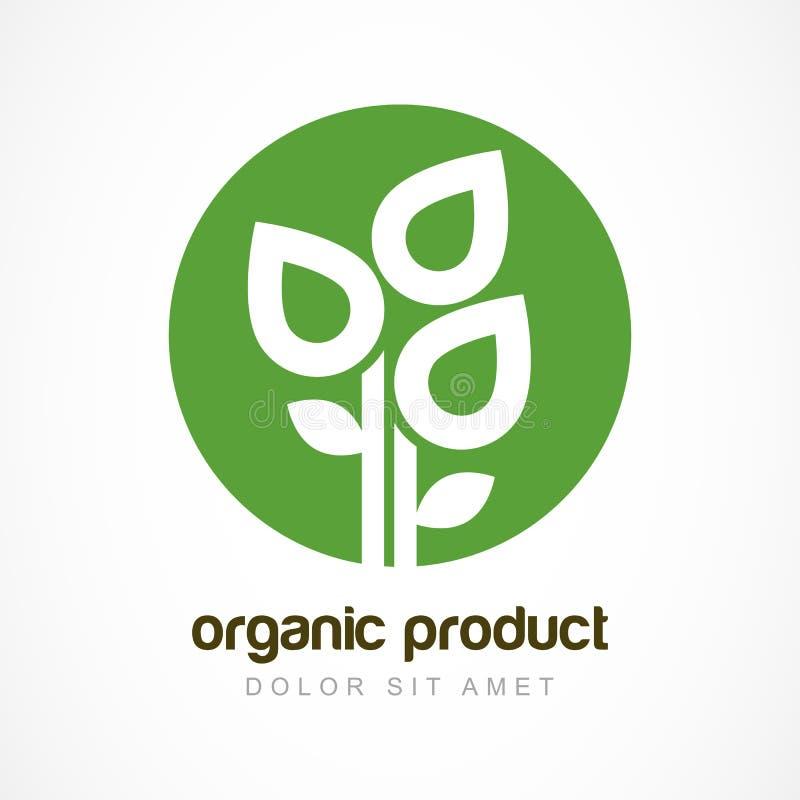 Pianta verde in modello di logo di vettore del cerchio Progettazione astratta concentrata royalty illustrazione gratis