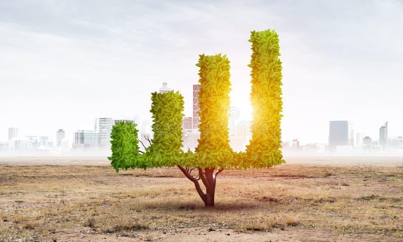 Pianta verde nella forma del grafico finanziario di crescita fotografia stock